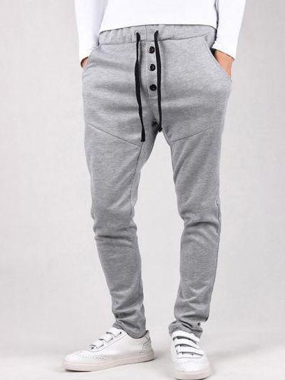 Comfortable Elastic Waist Cotton Harem Pants For Men