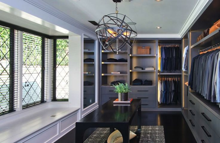 Fabulous walk-in closet with wall mirror and bay window with window seat, all beautiful ...