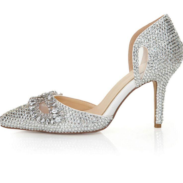 Silver Rhinestone Heels Pointed Toe 8cm Bridal Dress Shoes Romantic Formal Shoes Nightclub Crystal Women Prom Shoes Size 40 41