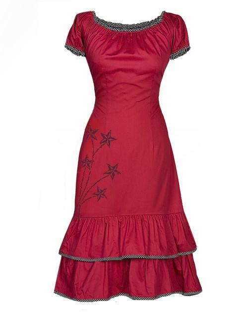 The perfect dress for the Christmas season! http://www.ecouture.com/carmen-red.html?___store=gb&___from_store=gb The dress is made from our gorgeous, hand-printed 100% organic cotton sateen [GOTS-certified] with tie-strings in the back, so the waist can be adjusted to show off your beautiful curves. The dress goes to just below the knee, with a stitched underskirt of silk. The cute polka-dot print is echoed in the piping and sleeves.