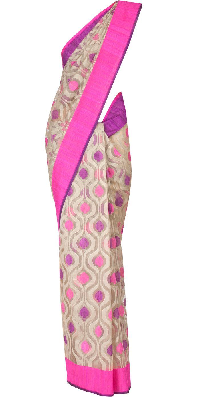 Meenakari banarasi net sari by EKAYA. shop at http://www.perniaspopupshop.com/whats-new/ekaya-19