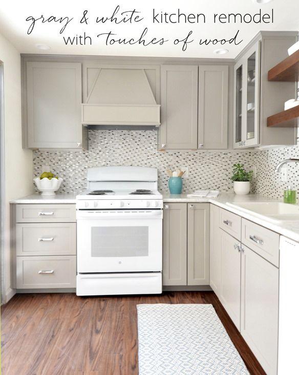 Gray White Kitchen Touches Of Wood White Appliances