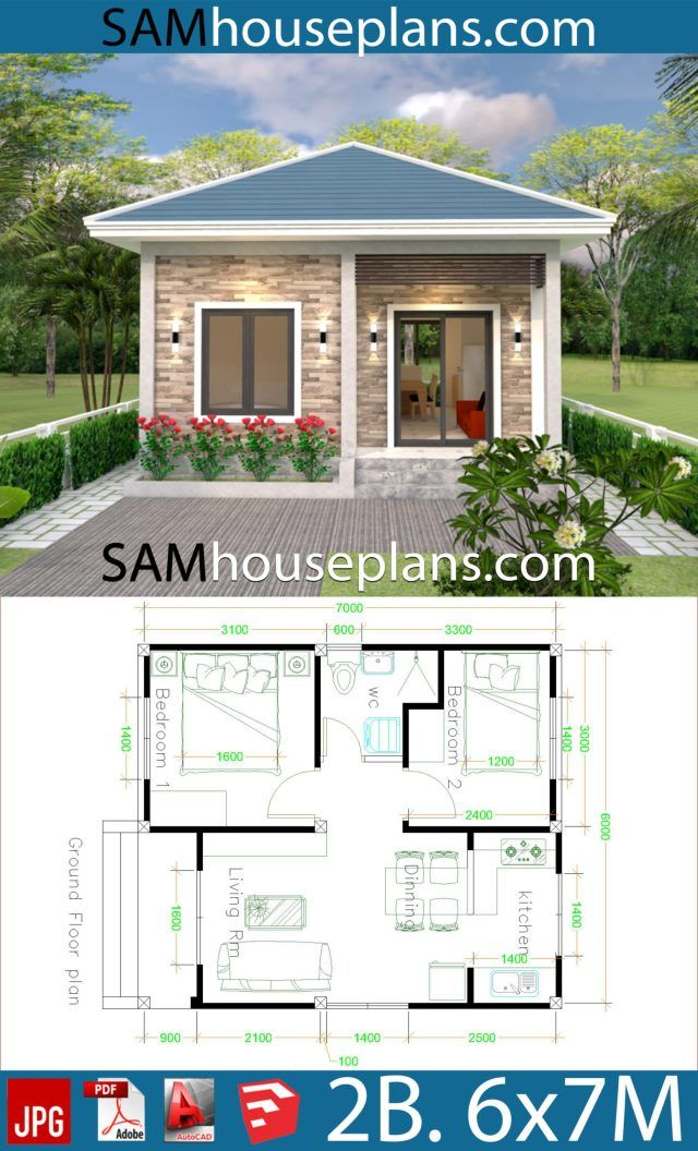 Simple House Design 6x7 With 2 Bedrooms Hip Roof Sam House Plans Simple House Design Small Guest House Design Architectural Design House Plans
