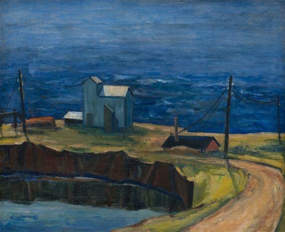 Houses by the sea by Eva Cederström, 1945, oil on canvas, 60 x 73 cm. (23.6 x 28.7 in.)