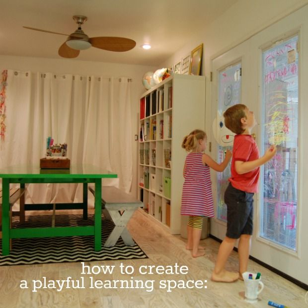 Playful Learning: Our Atelier by Rebecca BrownPlayrooms Ideas, Bright Tables, Kids Playrooms, Large Tables, Green Tables, Homeschool Room, Homeschool Learning