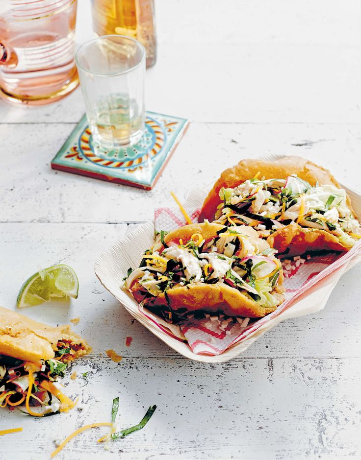 Puffy tacos, napa chicken salad & tomatillo verde recipe from Cantina by Paul Wilson | Cooked