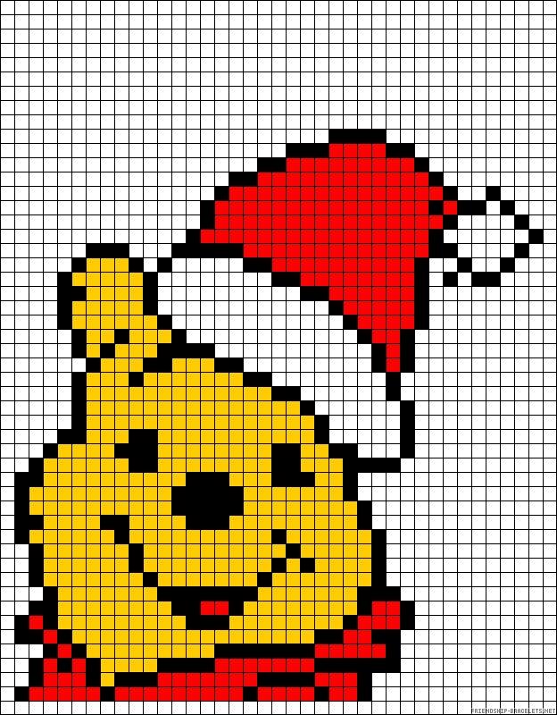Kerstmis Winnie the Pooh op ruitjespapier