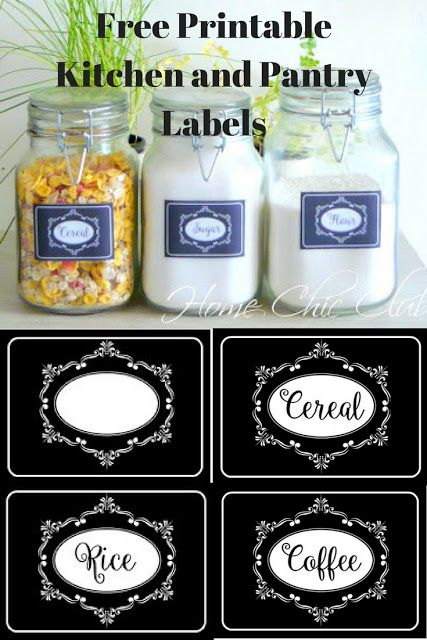 Free Printable Kitchen and Pantry Labels | Home Chic Club: Free Printable Kitchen and Pantry Labels