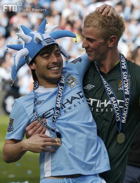 David Silva and Joe Hart, after city won the league title! :D May 13, 2012