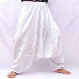 pantalones de harén de algodón blanco