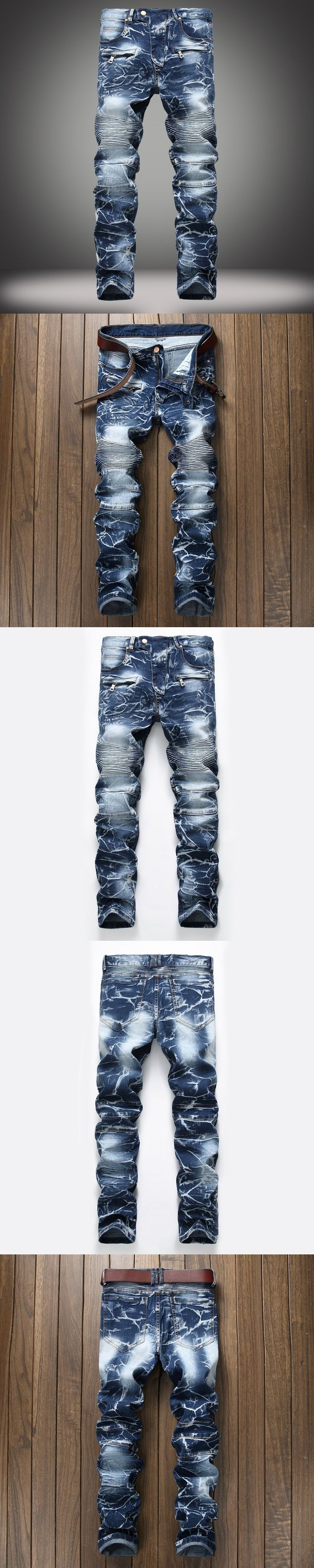2017 European American Style fashion brand mens jeans luxury  straight denim trousers zipper Slim blue jeans
