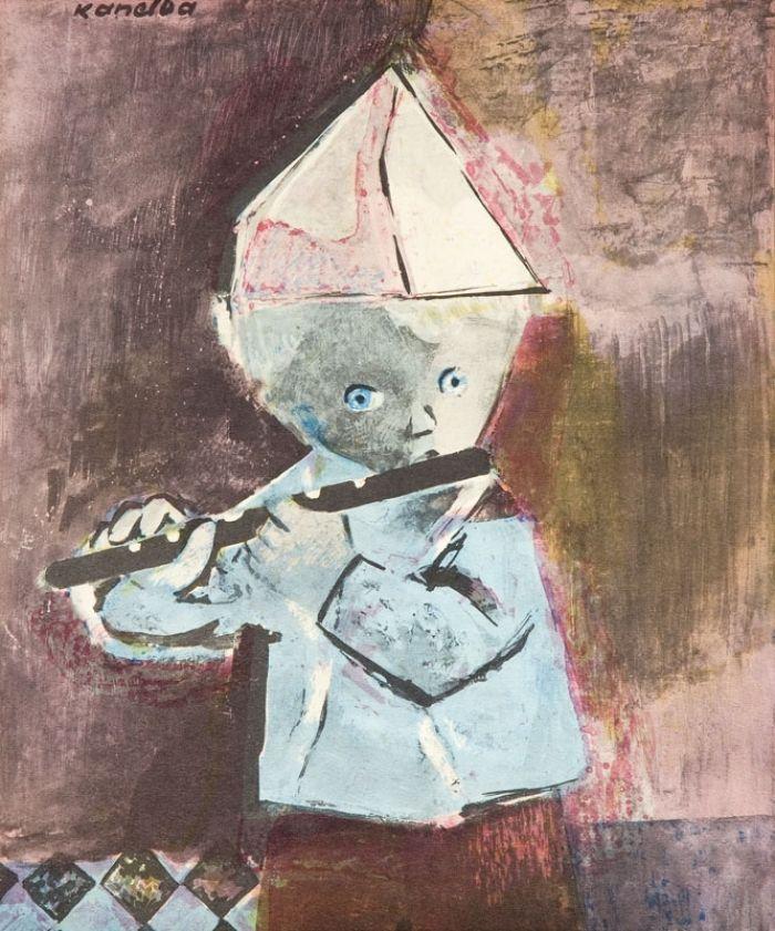 Rajmund Kanelba (Kanelbaum) - Chłopczyk grający na flecie