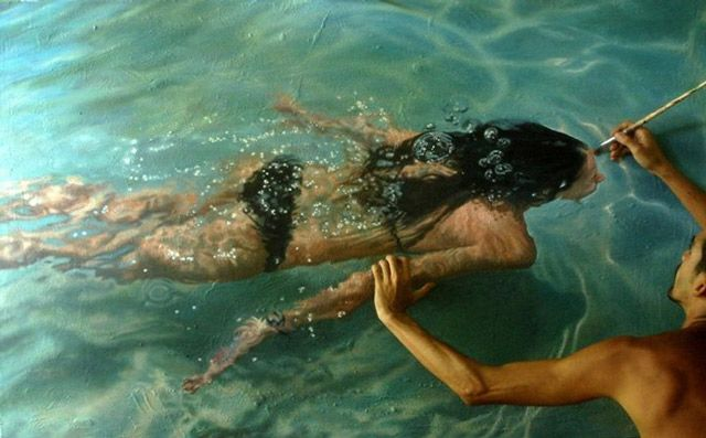 This Artist Not Only Creates Incredible Paintings of Swimmers, He Also Interacts with Them!