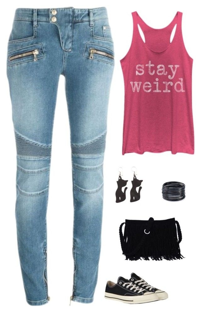 """""""Untitled #1680"""" by netteskytte on Polyvore featuring Balmain, Chin Up, Converse and ABS by Allen Schwartz"""