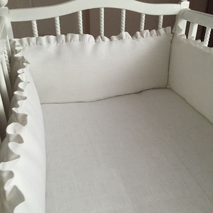 Snow white crib bumper with bows and ruffles from softened natural linen Crib bedding Nursery bedding Cot bedding by Madalii on Etsy https://www.etsy.com/listing/386866992/snow-white-crib-bumper-with-bows-and