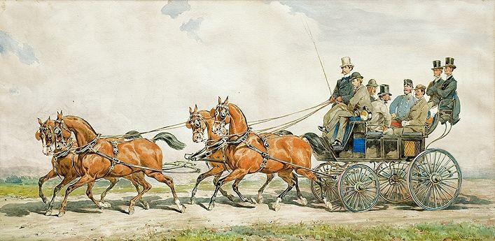 Ride in Four-Horse Carriage - Juliusz Kossak