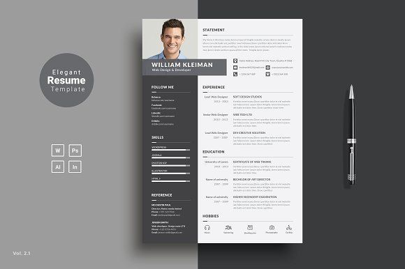 Creative Resume Template by ThemeDevisers on @creativemarket