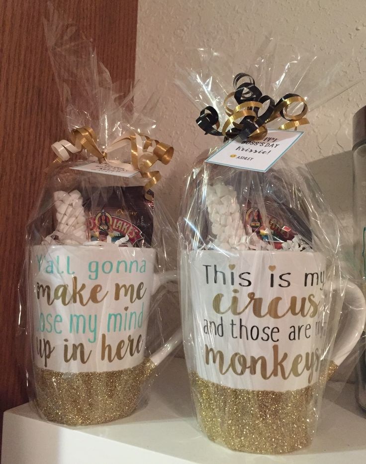 Boss's Day gifts I made for around $4 each!! Dollar tree mugs, $.50 cocoa packets and mini marshmallows in test tubes. I mod podged and glittered the cups then sealed it with a clear sealer & added my sayings using vinyl I had on hand! ❤️