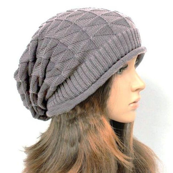Senchanting Women Warm Slouch Beanie Hat Skull Cap Ski Snowboard Hat Winter Hat(Gray)