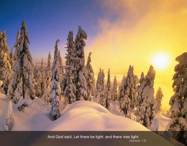 Promo Calendars 2015 - Faith Passages  Religious Christian Calendar - December 2015  Sun Over Snow  Genesis 1:3 And God said, Let there be light: and there was light.  Imprinted with your Business, Organization or Event Name, Logo and Message as low as 65¢ visit www.promocalendarsdirect.com/calendars/faith-passages from more details