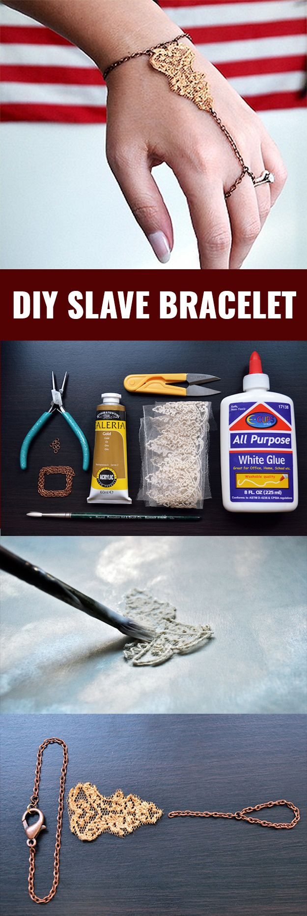 Fun DIY Jewelry Ideas | Cool Homemade Jewelry Tutorials for Adults and Teens | Awesome Bracelets, Necklaces, Earrings and Accessories You Can Make At Home | Golden Lace Slave Bracelet | http://diyprojectsforteens.com/fun-diy-jewelry-ideas-for-teens