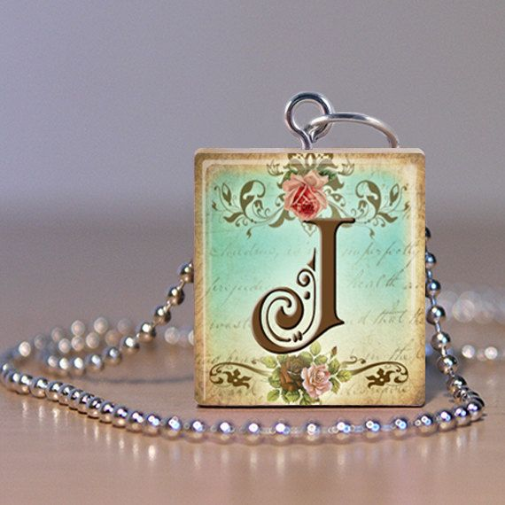 Scrabble Pendant  Jewelry  Alphabet Letter J  by MaDGreenCreations, $7.49