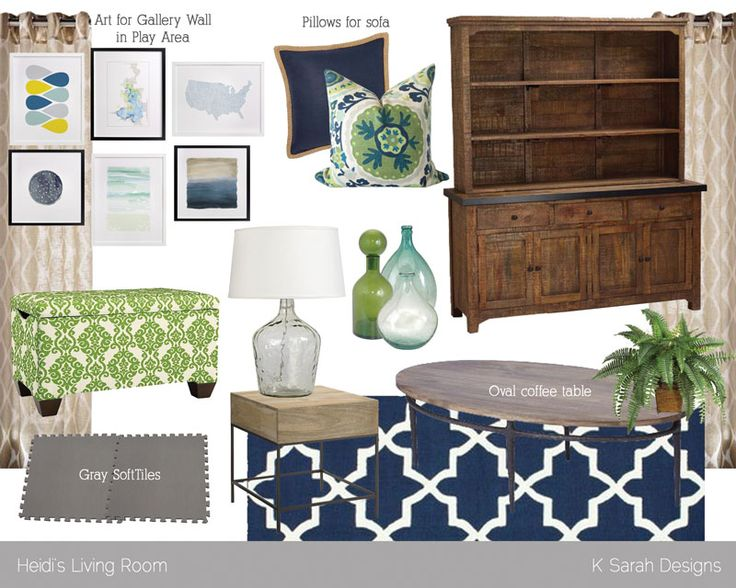 Blue And Green Living Room Mood Board From K Sarah Designs