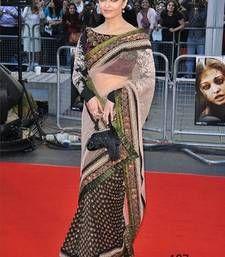 Buy Aishwarya rai Black and White Heavy saree with blouse aishwarya-rai-saree online