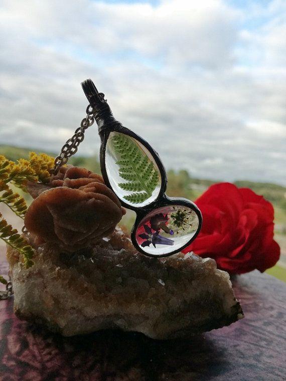 Fern Terrarium Necklace, Dry Anne Lace, Lavender flower, Pendant, herbarium…