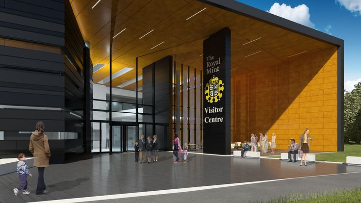 An artist's impression of the entrance to The Royal Mint Visitor Centre, planned to open in 2015.  http://www.royalmint.com/pre-register/the-royal-mint-visitor-centre