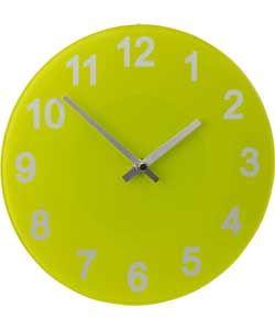 ColourMatch Apple Green Round Glass Wall Clock.