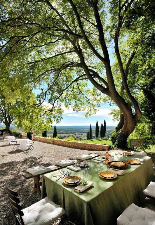 Repas de fête dans les jardins du château