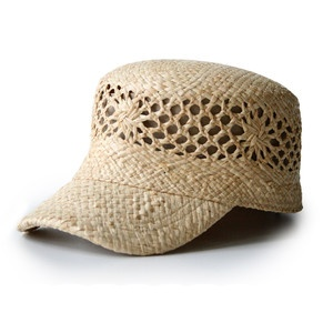 New take on a straw hat. Cute.