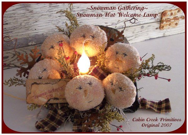 Free Printable Primitive Stitchery Patterns | ... PatternMart: Snowman Hat Welcome Lamp Primitive Christmas Pattern PM