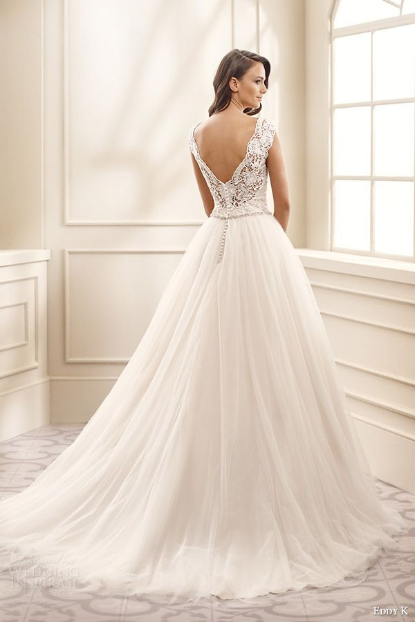 eddy k bridal 2016 cap sleeves thick straps sweetheart lace bodice a line wedding dress (ek1711) bv v back medium train romantic