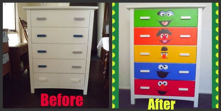 Jaw Dropping Drawers - Sesame Street Dresser Upcycle Tutorial - vinyl sheets stuck on