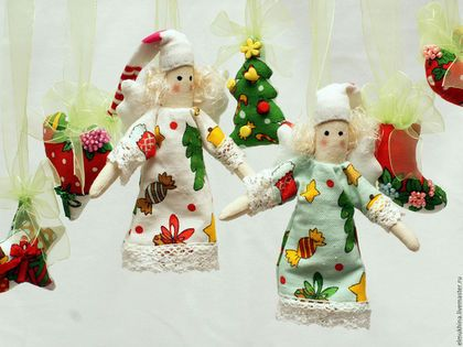 Новогодние ангелы.Ангелы на ёлку.Интерьерная новогодняя гирлянда.Гирлянда на ёлку.Купить недорого.Для детской.Для спальни.Недорогой подарок.Новогодний интерьер.Подвеска ангелы.Ангелочки