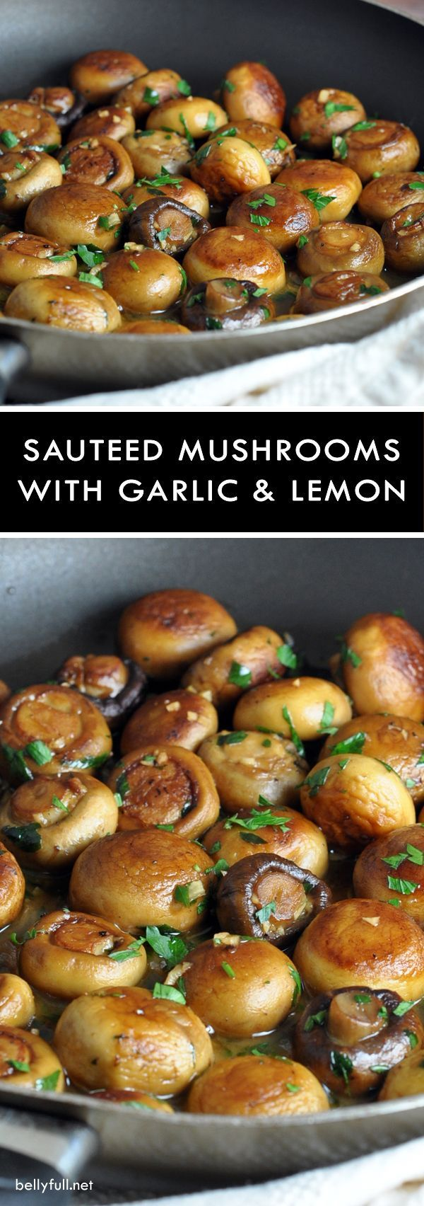 Sauteed Mushrooms with Garlic and Lemon Pan Sauce - two kinds of mushrooms are Sauteed in butter, olive oil, garlic, wIne, and lemon juice, which creates a wonderful pan sauce!