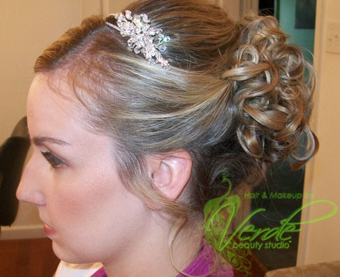 Up Do With Curls Swooped Bang And Smooth Sides On Medium To Short Hair