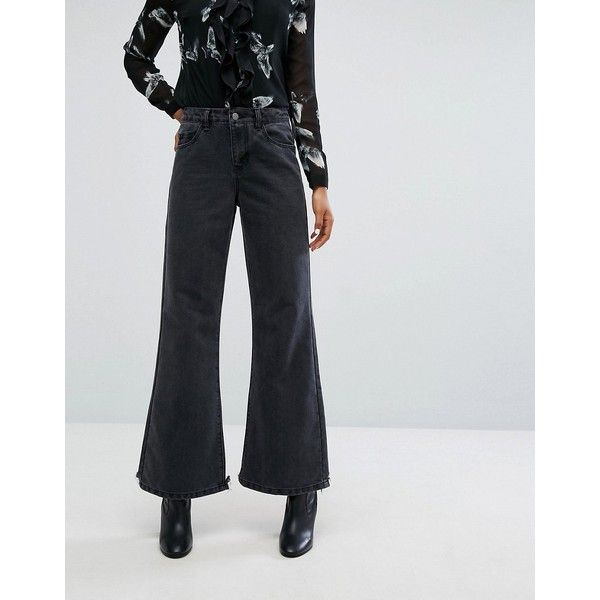 Noisy May Flared Jeans (65 CAD) ❤ liked on Polyvore featuring jeans, black, noisy may, print jeans, noisy may jeans, regular fit jeans and flared jeans