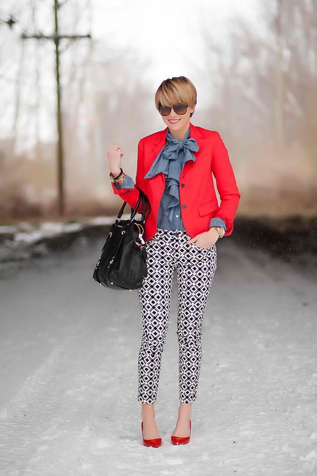 Graphic pants, chambray ruffle blouse & red jacket