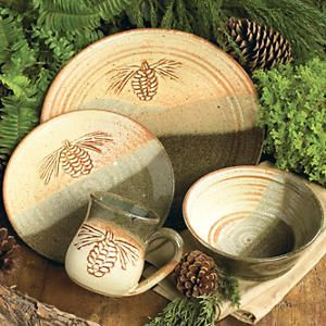 rustic dinnerware sets clearance | Fresh Pine Pottery Dinnerware - 4 pcs