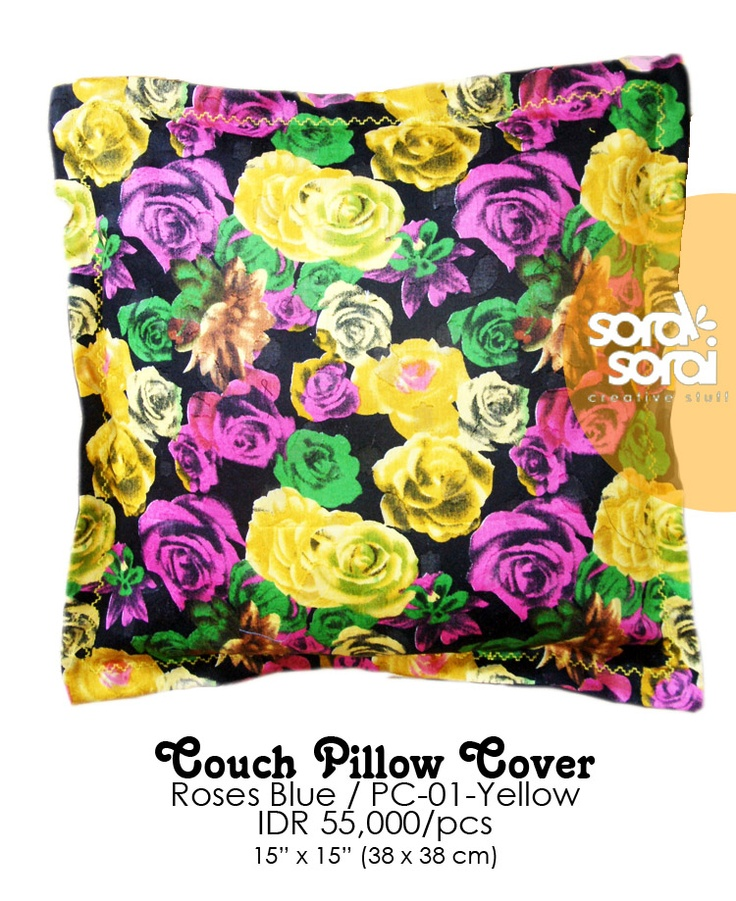 Couch Pillow / Cushion Cover. Roses Series. Yellow. by Soraksorai. #cushion #vintage