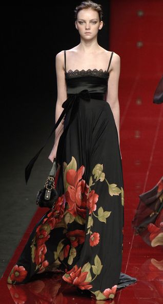 Elie Saab I find this wide placed strap neckline flattering. Almost like a strapless ... Organic placement of overblown flowers creeping thigh ward from the hem.