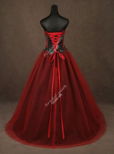 Gothic Custom Gorgeous Red Black Corset Wedding Dress Bridal Gown