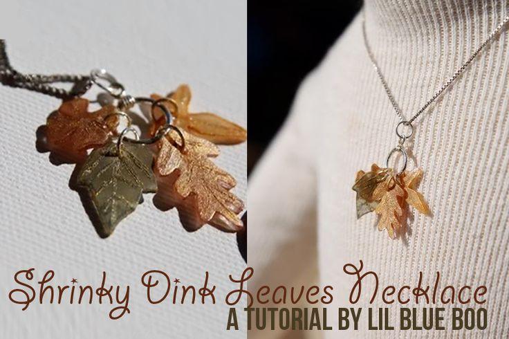 How to make a fall leaves necklace with Shrinky Dinks! Tutorial via lilblueboo.com
