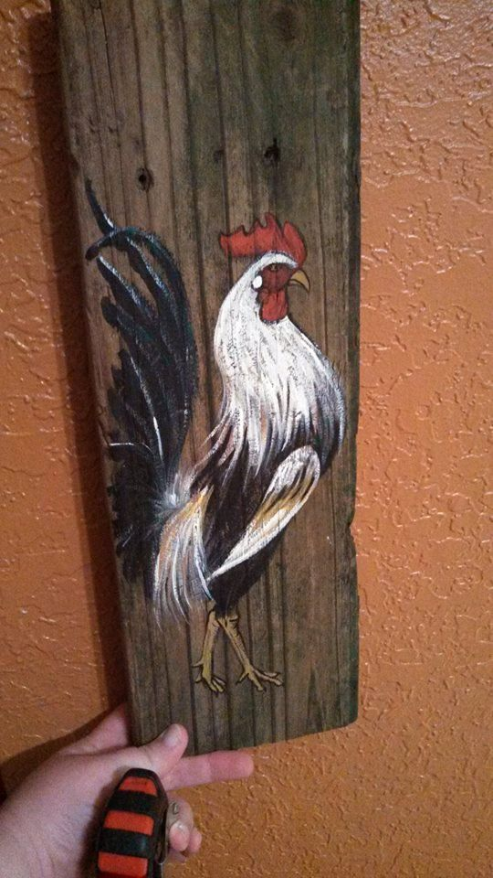 Game Rooster Painting on Reclaimed Farm Wood by DIYosaur on Etsy, $45.00