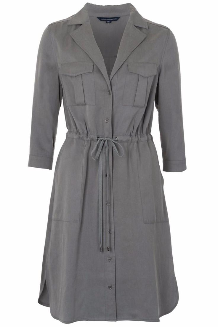 French Connection Kruger Tencel Shirt Dress in Khaki grey. Featuring v-neckline, tie waist and three quarter length sleeves.Sizes are UK. UK Size 4 = US 1; UK 6 = US 2; UK 8 = US 4; UK 10 = US 6; UK 12 = US 8; UK 14 = US 10; UK 16 = 12; UK 18 = US 14; UK 20 = US 16; UK 22 = US 18   Khaki Shirt Dress by French Connection. Clothing - Dresses - Casual Essex, East of England, England, United Kingdom