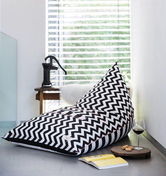 Bean Bag, Bean Bag Chair, adults beanbag , teens beanbag , patio furniture,outdoor bean bag, indoor beanbag black and white stripes