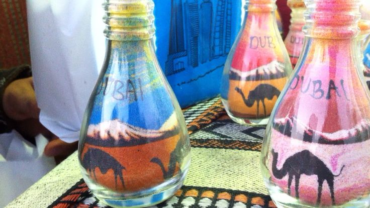 Sand-art, painting with sand in a bottle